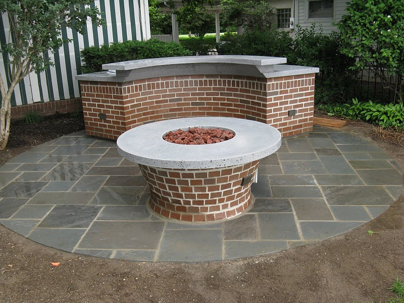 Bluestone Patio Tapered Brick Fire Ring Base Curved